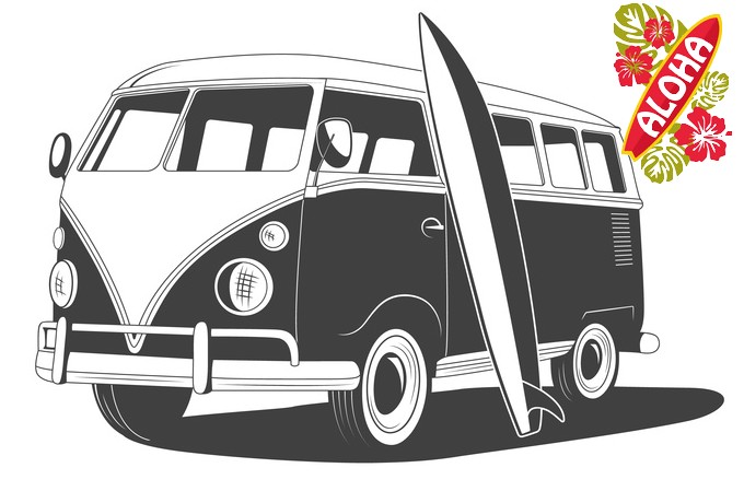 Retro Travel bus with surfboard. Side view.
